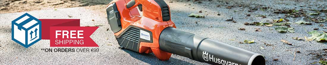 Husqvarna Handheld Blower sitting on concrete path